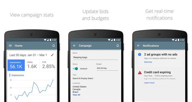 Aplicación de Google Adwords para Android.